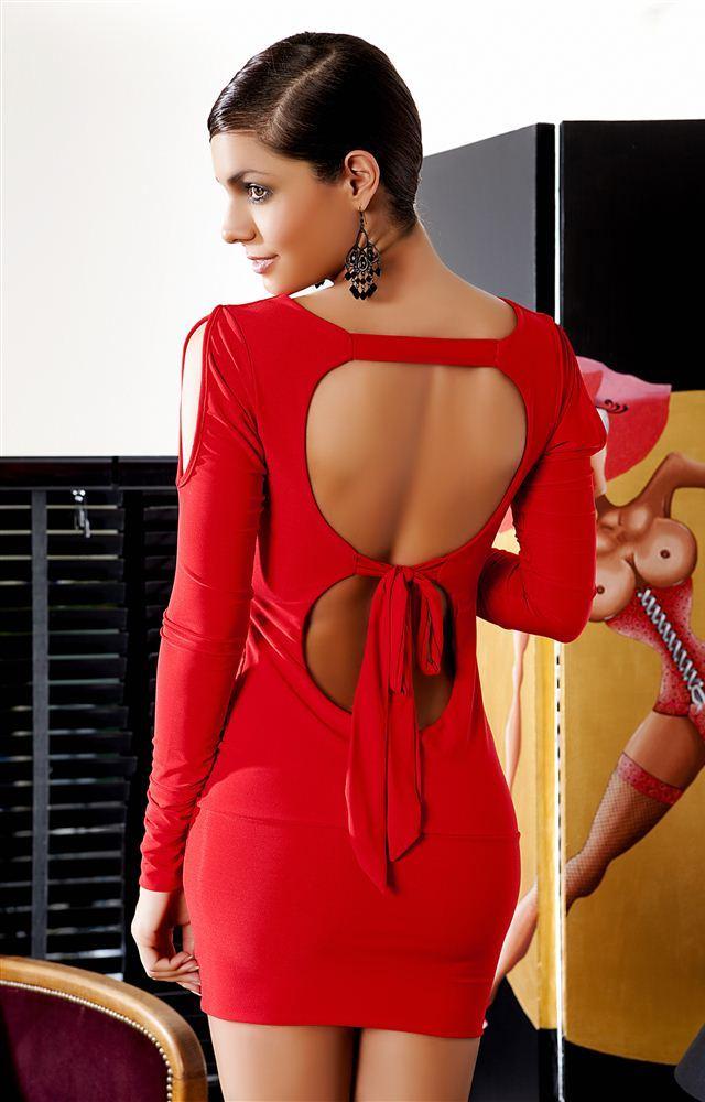 kırmızı sırt dekolteli mini elbise resimleri