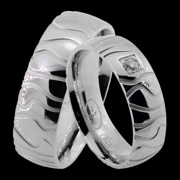 şık tasarım özel işleme gümüş alyans modeli