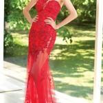 kırmızı dantel abiye elbise modeli