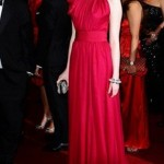 kırmızı kemerli abiye elbise modeli