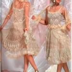 kısa krem rengi dantelli abiye elbise modeli