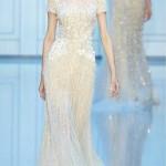 krem rengi uzun dantelli abiye elbise