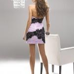pembe-siyah dantel detaylı abiye elbise