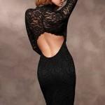 sırt dekolteli şık dantel abiye elbise modeli