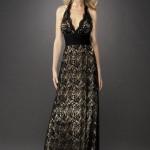 siyahaskılı dantel abiye elbise modeli
