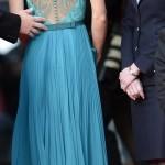 turkuaz şık dantelli abiye elbise