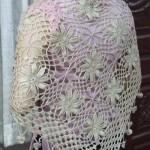 çiçek motifli örümcekli el örgü şal modeli