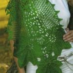 çok şık yeşil örgü şal modeli