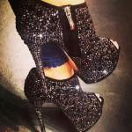 şık fermuarlı taşlı ayakkabı modeli
