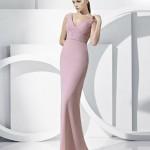 dekoltesiz pudra rengi abiye elbise