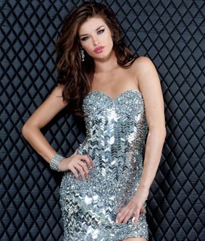 Renkli Payetli Elbise Gümüş Renk Payet ve Taş