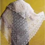 ince ipten yapılmış şık örgü şal modeli