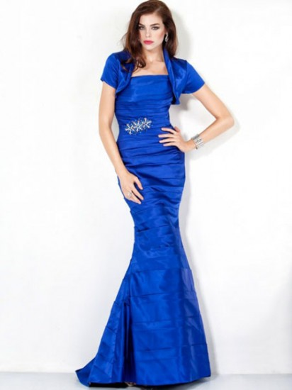 Gecesi elbise modelleri mavi bolerolu kına gecesi elbise modeli