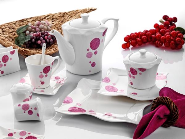 pembe desenli karaca kahvaltı takımı
