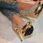 platformlu şık payetli ayakkabı modeli