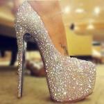 trend yüksek topuklu taşlı ayakkabı modeli