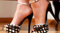 Yazı Bilekten Bağlı Platform Ayakkabılar