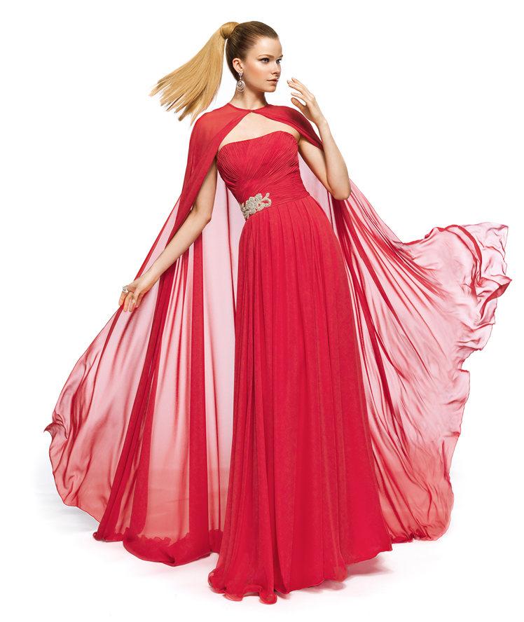şifon pelerinli uzun abiye elbise modeli