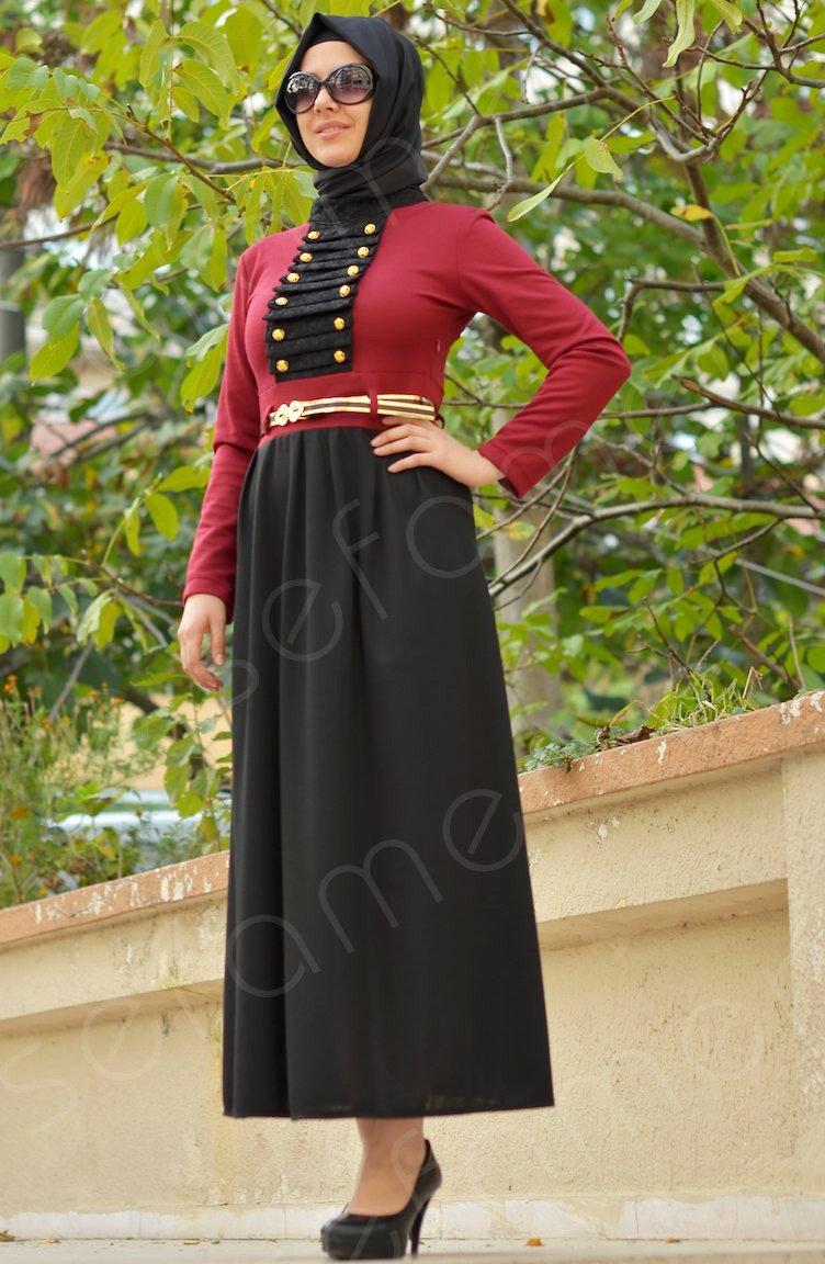 kırmızı-siyah tesettür elbise modeli