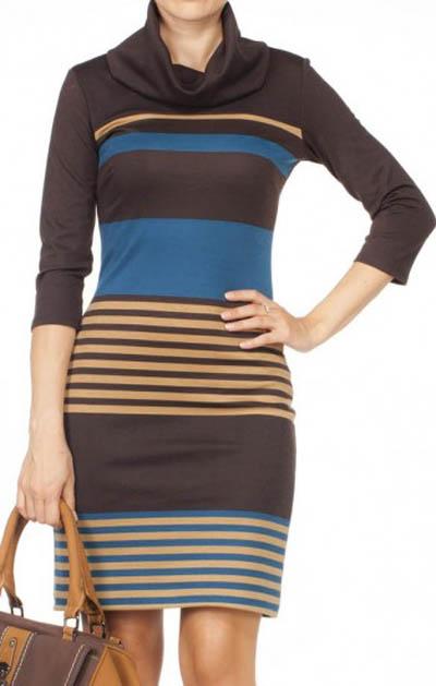 Adil ışık degaje yaka enine çizgili kahveli kapri kol mini elbise örnekleri
